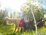 Riding lawn mower busty Norwegian Monica Milf gets interested in her colleague 6