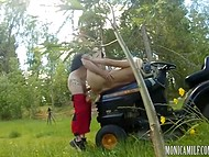 Riding lawn mower busty Norwegian Monica Milf gets interested in her colleague 9