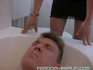 Two playful German bitches piss and spit in the face of big and obedient man 10
