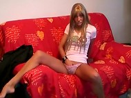 Teen Dutch slut with slender body decides to record her first homemade porn video 4