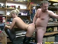 Shoemaker puts pretty blonde on his working desk and pushes main device in the cunt 7