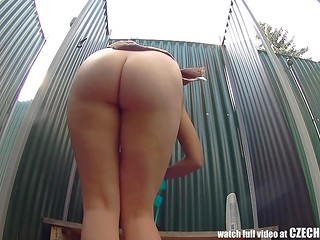 Czech girl visited public shower and dressing cabin that are equipped with hidden cameras