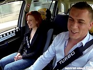 Czech taxi becomes a great fuckfield for pale-skinned amateur redhead chick 4