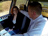 Czech taxi becomes a great fuckfield for pale-skinned amateur redhead chick 8