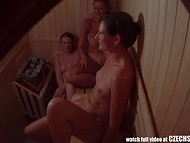 Pleasant Czech Sauna welcomes two young student chicks and slender MILF