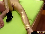 Two lewd Germans put on spandex uniform getting fucked in the latex fetish porn video 10