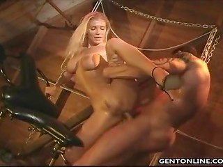 Athlete tied divine Finnish diva and was going to penetrate all her juicy holes