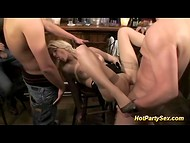 Group of males drank some alcohol and convinced blonde slut for a gangbang in the bar