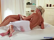 Horny masseuse could not resist and stuck her playful fingers in oiled client's sissy 7