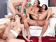 Company of kinky friends gathered at agreed hour to take participation in crazy orgy 10