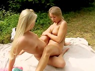 Two gorgeous girls came to the park with blanket and dildo to enjoy sunrays and get unforgettable orgasms
