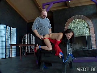 Guy touching and dominating tied dark-haired girl