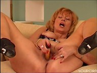 Mature cougar playing with her hairy cunt 10