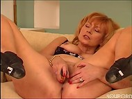 Mature cougar playing with her hairy cunt 11