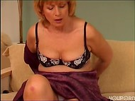 Mature cougar playing with her hairy cunt 5