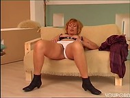 Mature cougar playing with her hairy cunt 6