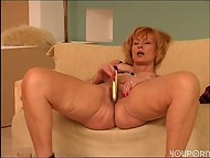 Mature cougar playing with her hairy cunt 8