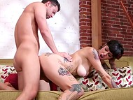In gratitude for blowjob by cute honey, man spent all strength fucking hard her tattooed body 5