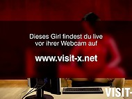 Dark-haired dame is sitting in front of a computer while rubbing her hot pussy and tits 11