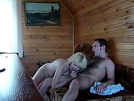 Russian blonde whore pleases client in the sauna and doesn't know about recording camera