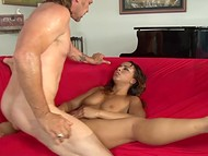 Ebony cheerleader Teanna Trump goes mad about long-haired neighbor's hard cock 10