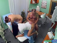 On the New Year's Eve doctor decided to have some fun with his nurse and his patient as well 8