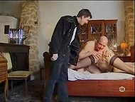 Old man caresses make Jeux Vicieux Chez delighted and she repays with blowjob to his young stepson 9