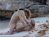 Happy Hungarian couple starts morning with sensual sex in the deserted beach 4
