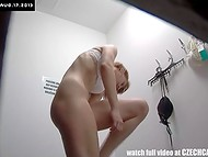 Czech Cabins: nice body forms and pale skin of red-haired customer were filmed by the hidden cam 8