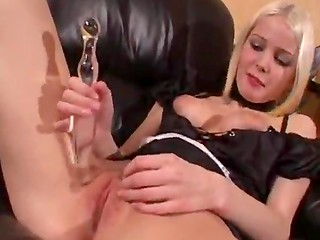 Amateur Swedish babe in sexy black dress toying pussy with glass dildo