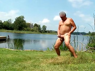Crazy mature man doesn't need fishing when his fish-rod is ready to be jerked off