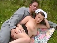 Girls were walking through the park and saw shameless nurse making love to fisherman
