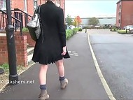 Bitchy female from Britain isn't fear to catch a cold walking with naked ass in windy weather 9