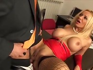 Boss needs to relax and his busty secretary surely knows the best way how to do it 5