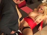 Boss needs to relax and his busty secretary surely knows the best way how to do it 6