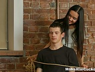Guy didn't expect that instead of getting help he will nail chick in front of her tied up lover 3