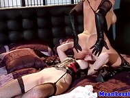Sexually dressed Lesbian spanked girlfriend's ass and sat on her greedy mouth after that 11