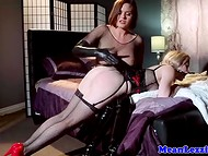 Sexually dressed Lesbian spanked girlfriend's ass and sat on her greedy mouth after that 5