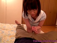 Curious chap comes upstairs to see cheerful teeny with mischievous tongue 4