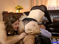 Frolicsome Jim Slip and Lara gambol with young hottie in front of the camera 8