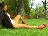 Shameless Latina woman didn't worry about bystanders flashing her cunt on the lawn in England  4