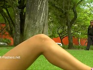 Shameless Latina woman didn't worry about bystanders flashing her cunt on the lawn in England  5
