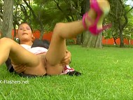 Shameless Latina woman didn't worry about bystanders flashing her cunt on the lawn in England  8