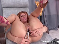 Skinny girl clamps labia in a metallic vice but realized that rubber dildo is more pleasant for her pussy