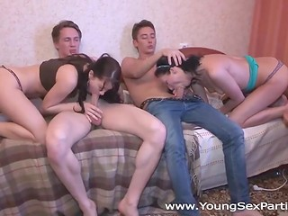 Two Russian buds agreed to share their girlfriends and arrange foursome action