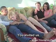 Couple chose the right moment and shy beloveds agreed to take part in the foursome sex 5