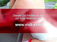 Seductive German cougar in nurse unforgettable chewing over dildo on webcam 11