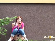 Amateur girls are peeing in the public places in the awesome video compilation 5