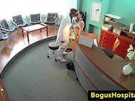 Experienced doctor consulting teenage patient by fucking her pussy on the writing desk 4