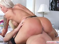 Stacked Nina Elle in black stockings gets drilled and receives white liquid in her mouth 8